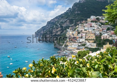 Coast of Amalfi. beautiful Positano view for your design - stock photo