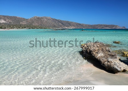 Coast of Crete island in Greece. Sandy beach in famous Elafonisi (or Elafonissi). - stock photo