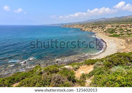 Coast of Cyprus National park Akamas peninsula - stock photo