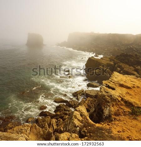 Coast of the Atlantic ocean in Portugal. Peniche - small fishing village - stock photo