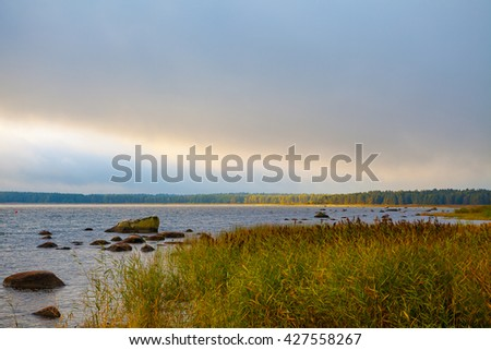 Coast of the Baltic Sea. Beautiful summer view with changeable weather. The harsh northern nature. - stock photo