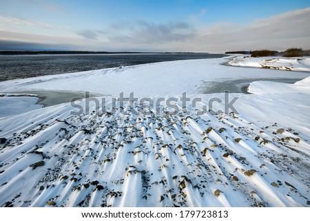 Coast of the freezing river Ob in the late autumn, Siberia, Russia - stock photo