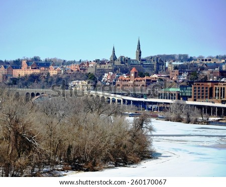 Coast of the frozen Potomac. Embankment of Georgetown.  - stock photo