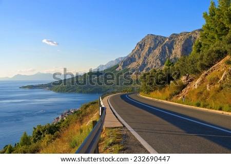 coast road croatia - stock photo