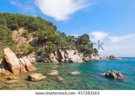 Coast with rocks at Costa Brava in Spain - stock photo