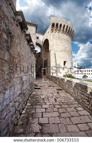 coastal fortification in Korcula. Croatia - stock photo