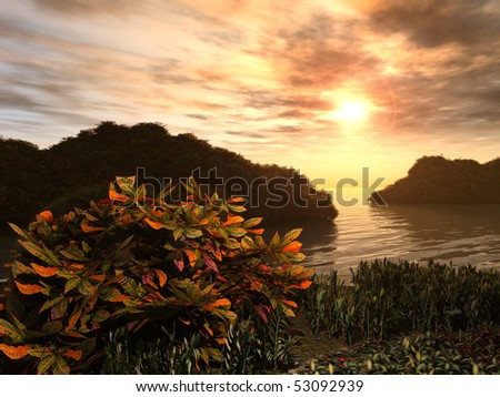 Coastal garden at sunrise or sunset has green and orange leaves and is on a water inlet. - stock photo