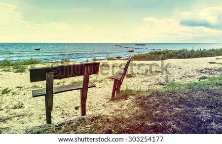 Coastal landscape at the Baltic Sea. Image toned for inspiration of retro style - stock photo