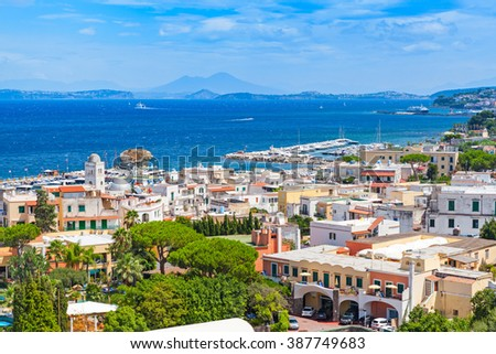 Coastal landscape of Lacco Ameno resort. Ischia island, Italy. Mediterranean Sea coast - stock photo