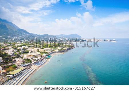 Coastal landscape with beach of Forio, Ischia Island, Italy - stock photo
