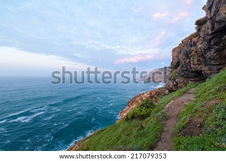 Coastal path in Mossel Bay in South Africa - stock photo