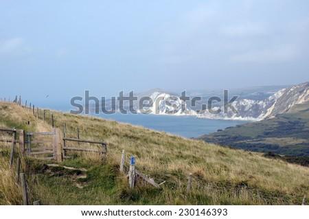 Coastal path on Dorset coast near Tyneham - stock photo