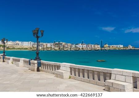 Coastal promenade of Otranto town, Salento peninsula, Puglia region, Italy - stock photo