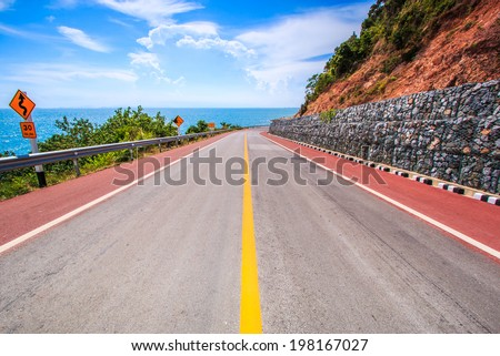 Coastal road mountain highway and sea  - stock photo