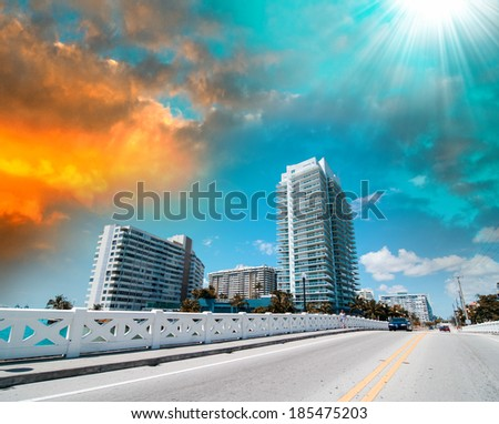 Coastal road of Miami with cityscape, Florida. - stock photo