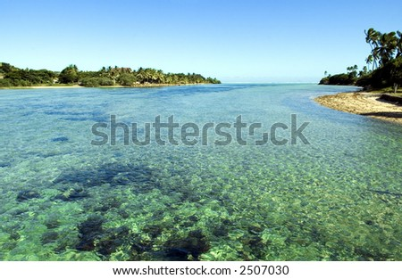 Coastal scene in Fiji - stock photo