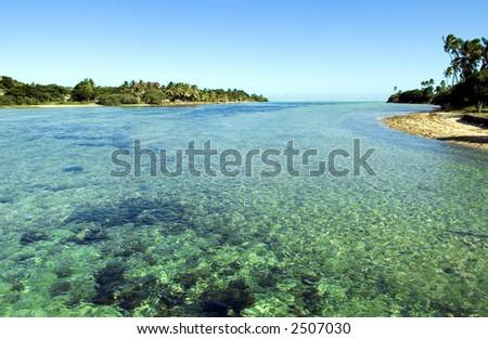 Coastal scene in Fiji - stock photo