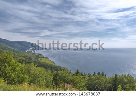 Coastal Scene on the Cabot Trail in Nova Scotia, Canada. - stock photo