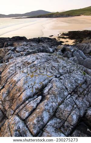 Coastal scenery of Harris (Outer Hebrides), Scotland at sunset - stock photo
