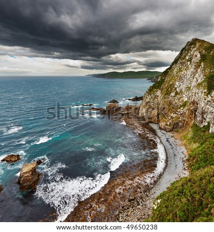 Coastal view, New Zealand - stock photo