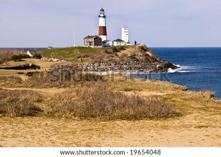 Coastal view of Montauk Point Lighthouse located on Long Island, New York. - stock photo
