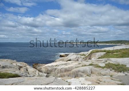 Coastal view of ocean in Nova Scotia - stock photo