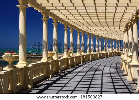 Coastal way with Pergola at Foz do Douro, not far from Oporto - stock photo