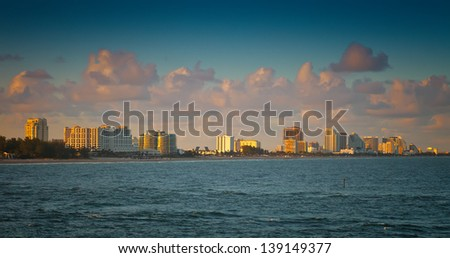 Coastline and beach of Ft. Lauderdale, Florida - stock photo
