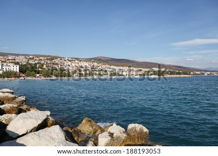 Coastline and buildings of Crikvenica, small city in Croatia.  - stock photo