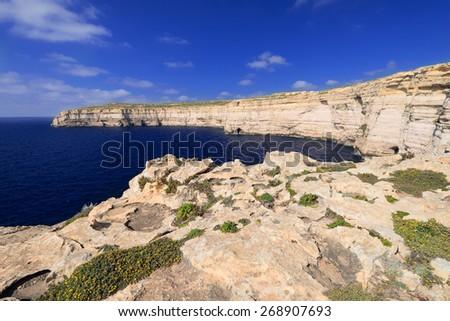 Coastline near Azure Window on Gozo Island, Malta - stock photo