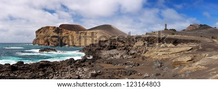 Coastline near the lighthouse of Capelinhos, Faial Azores - stock photo