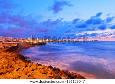 Coastline of Casablanca during sunset in Morocco, Africa - stock photo