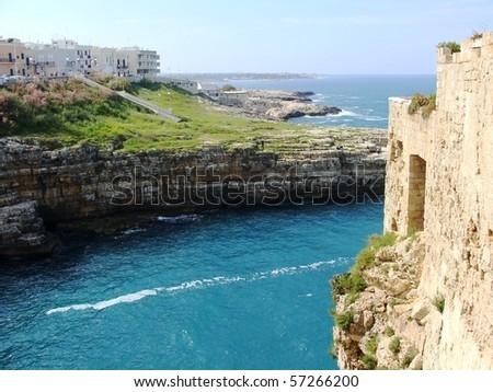 Coastline of southern Italy near Polignano A Mare - stock photo