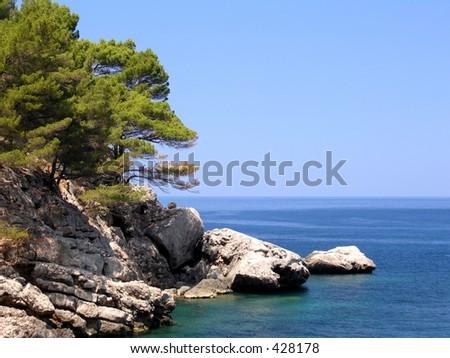 Coastline of the spanish island Mallorca - stock photo
