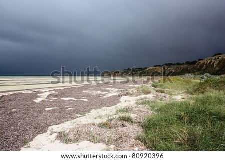 Coastline of Yorke Peninsula on a gloomy day - stock photo