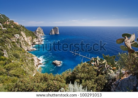 coastline on capri island, italy - stock photo