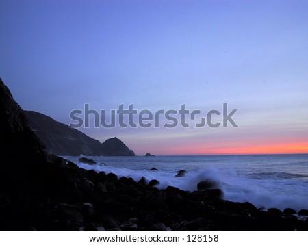 Coastline Sunset, California - stock photo