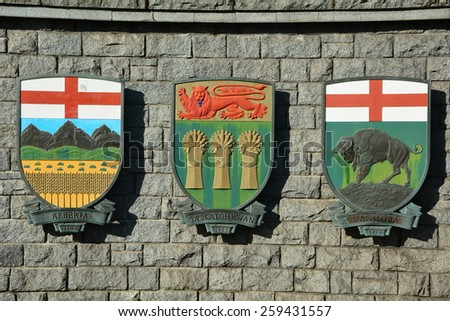 Coat of arms for the Canadian provinces of Alberta, Saskatchewan and Manitoba - stock photo