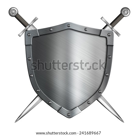 coat of arms medieval knight shield and crossed swords isolated - stock photo
