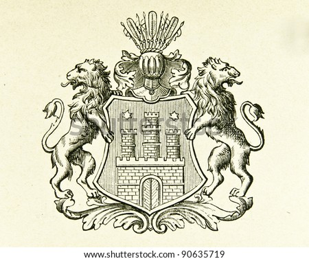 "Coat of arms of Free City Hamburg. Illustration by Alwin Zschiesche, published on ""Illustrierts Briefmarken Album"", Leipzig, 1885. - stock photo"