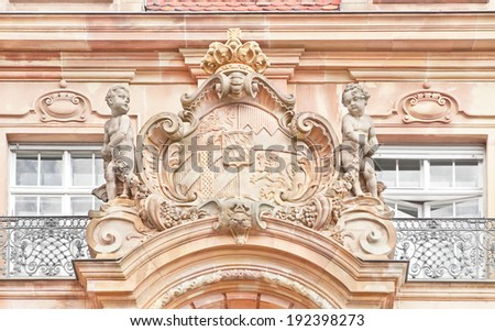 Coat of arms of the former Kingdom of Bavaria (1806-1918) on the facade of 1903 building of town hall in Speyer, Germany - stock photo