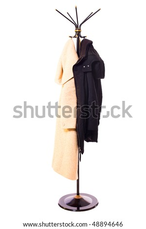 coat rack isolated on white - stock photo