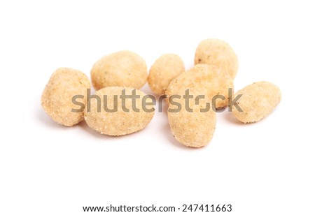 Coated peanuts isolated on white background - stock photo