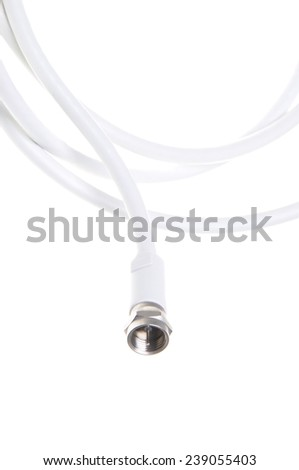 Coaxial tv cable with F connector close up isolated on white background - stock photo