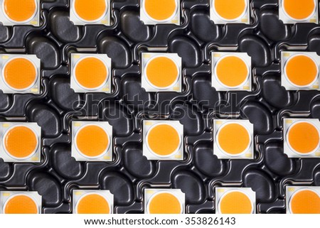 COB LEDs on black carriers trays - stock photo