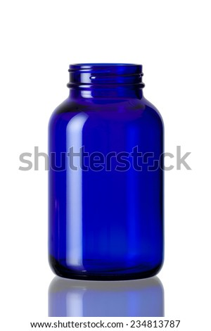 Cobalt blue bottle opened  - stock photo