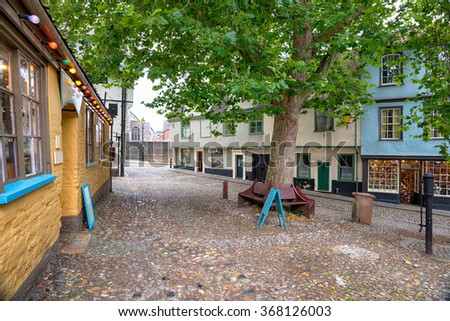 Cobbled streets on Elm Hill at Norwich city centre in Norfolk - stock photo