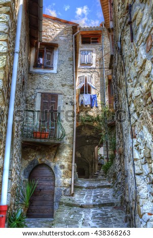Cobbled Walking Path in the Village of Luceram, Alpes-Maritimes, Provence, France - stock photo