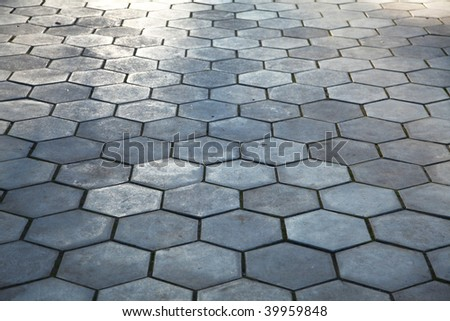 Cobblestone pavement paving - stock photo