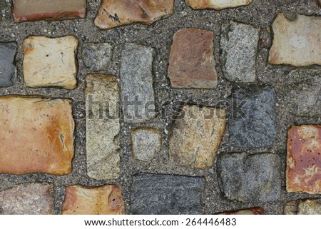 Cobblestone tiled road texture 7699 - stock photo
